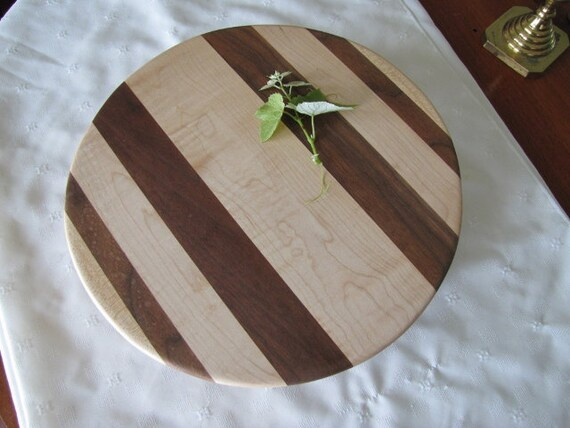 handmade wood cutting board circular footed tiger maple black walnut home and garden