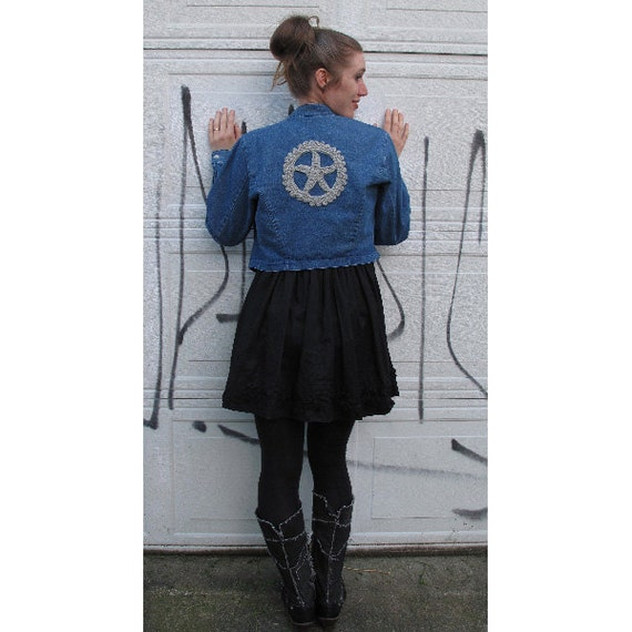 Upcycled Blue Denim Jacket with Steampunk Crochet Gear on Back