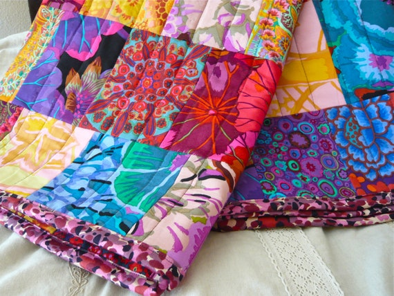 Pomp & Patchwork Quilt -- Colorful Bohemian Inspired Quilt