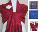 Printed Deep Red Pashmina Scarf, Shawl, Wrap, bridal shawl, bridesmaids shawl, bridal gift