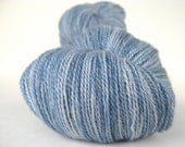 RAIN Hand Dyed Yarn Merino and Silk Lace Weight Gray Blue - spinningmulefibers