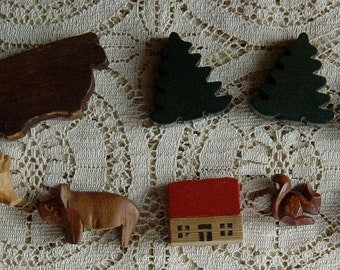 Antique Miniature Vintage Wood Set Animals, Farmhouse and Trees