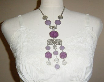 Vintage 1960s 1970s Necklace Purple and Silver Boho Haute Hippie Style