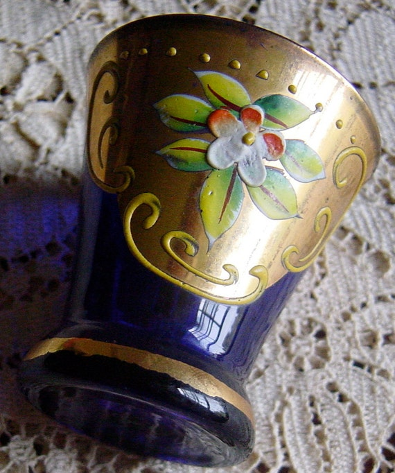 Antique French Pastis Glass Cobalt Blue Hand Painted