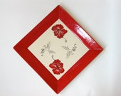 Large Square Platter with Red Hibiscus Flowers and Stylized Birds
