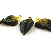 Large Autumn Leaf Lampwork  bead set  (3)   UK SRA