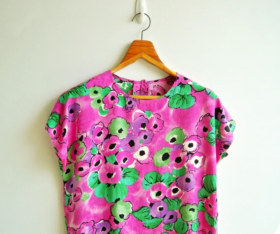Vintage Silk Fushia Pink Water Color Flower Printed Boxy Top