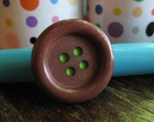 Brown & Lime Green Adjustable Button Ring
