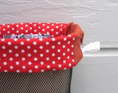 Red Dots with Saddle Brown Sides Bicycle Basket Liner