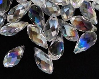 6pc - 13mm Thunder Polish Crystal AB Teardrop Pendant Charms