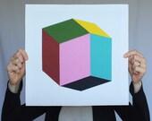 "Giclee print - ""Rhombic"" - 13"" x 13"" modern geometric abstract art"