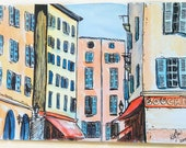 Watercolour of France Print - Provence Street (A5 / 148 x 210mm) travel art