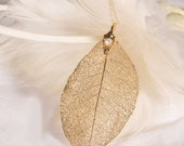 Natural Gold Leaf Necklace with a touch of a Pearl, BLACK DRIDAY, 40% off