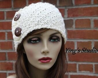 Hand Knitted Headband - Neck Warmer - Head Wrap - Earwarmer - Coconot Shell Button -  Wool Blend - Ivory - Fall Fashion  - Winter Accessory