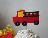Fire Truck, Fire Engine, Fireman, Firefighter Theme Cupcake Toppers - Set of 12