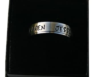 Custom Stamped Name/Family Ring - 6mm Stainless Steel Comfort Fit