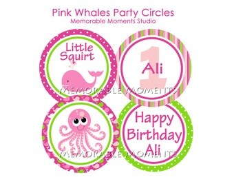 PRINTABLE PARTY CIRCLES Pink Whales Party Collection - Little Squirt - Memorable Moments Studio