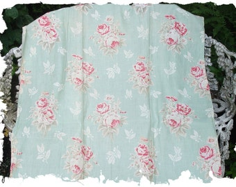 Cherry Red Pink English Cabbage Rose Floral Pale Mint Green Vintage Fabric