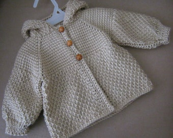 Brown Beige Taupe Crochet Sweater with Hood for Boy or Girl - MADE TO ORDER - Tunisian Crochet - Handmade