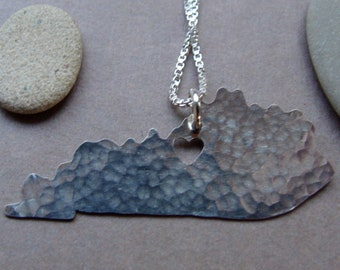 Kentucky Necklace. State of Kentucky Silver Outline with Heart Charm. I Heart University of Kentucky Home Pendant. Gifts For Best Friends.