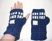 Pattern For T.A.R.D.I.S. - Inspired Fingerless Gloves