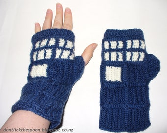 Pattern For T.A.R.D.I.S. - Inspired Fingerless Gloves