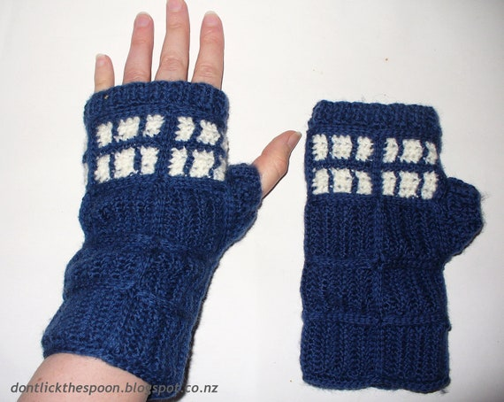 T.A.R.D.I.S. - Inspired Fingerless Gloves - Medium