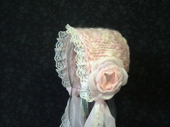 Newborn Baby Bonnet Vintage Inspired Photo Prop with Lace light pink lavender cream