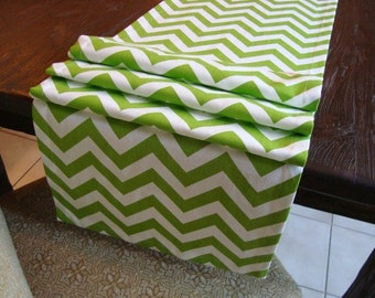 Chevron Runner Chartreuse White Table Runner 15x72
