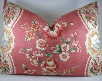 SALE!!! Modern Chic Floral Accent Lumbar Pillow Coral with Border 14X20