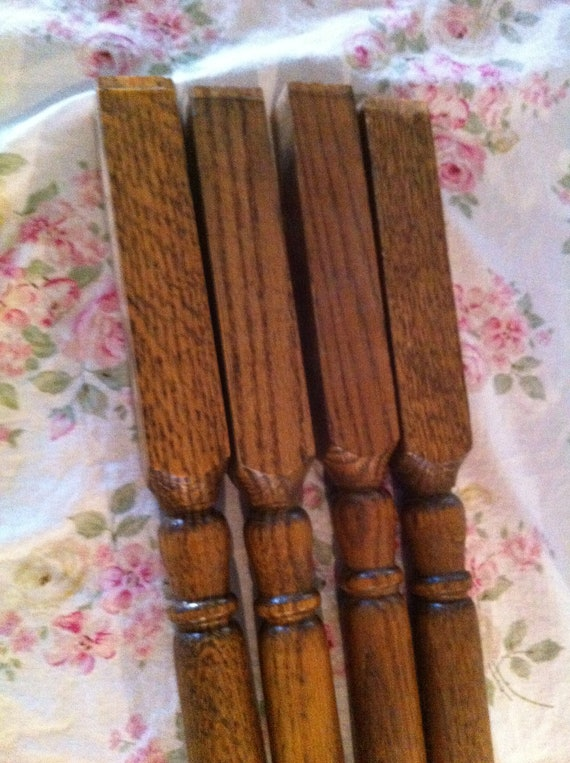 Vintage Set of Four Wood Post Table Legs Architectural Salvage Spindle - Shabby chic Cottage Upcycle