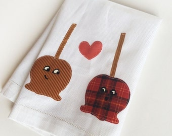 Ready to Ship Candy Apple and Caramel Apple in Love Cotton Kitchen Towel -  Wedding, New Home, Anniversary Gift