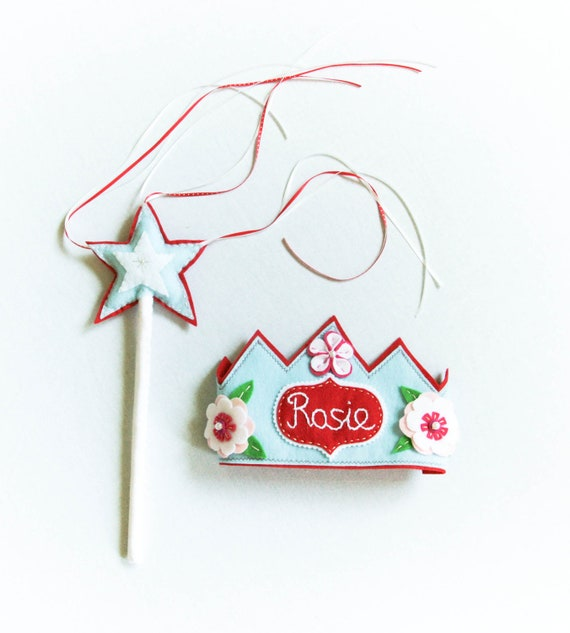 Personalized Felt Crown, Magic Wand, Halloween Dress Up, Pretended Playtime Accessory - Red Blue Fairy Tale Princess Photo Prop