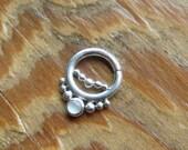 Nexus Gem (.999 silver) : Silver Nose Ring .. Septum Jewelry .. Moonstone Nose Hoop .. 3mm Gemstone .. Aprilsblissed .. Nosebling