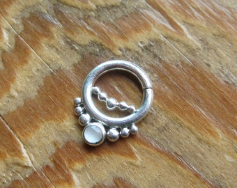 Nexus Gem (.999 silver) : Silver Nose Ring .. Septum Jewelry .. Moonstone Nose Hoop .. 3mm Gemstone .. Aprilsblissed .. Nosebling