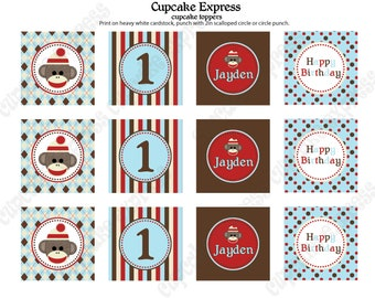 DIY  Light Blue Sock Monkey  Birthday Collection Printable party circles 2in Cupcake Toppers