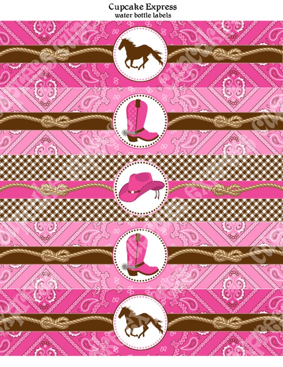 Cowgirl Water Bottle Labels Birthday Party PRINTABLE bridal shower wedding baby shower pink brown hot pink horse boots INSTANT DOWNLOAD diy