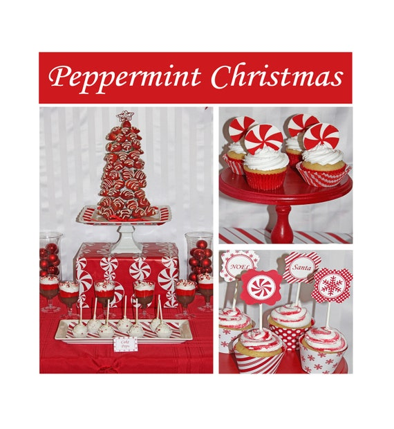 Peppermint Christmas Party  PRINTABLE Deluxe Package Red white Holiday snowflakes Sale Sale diy