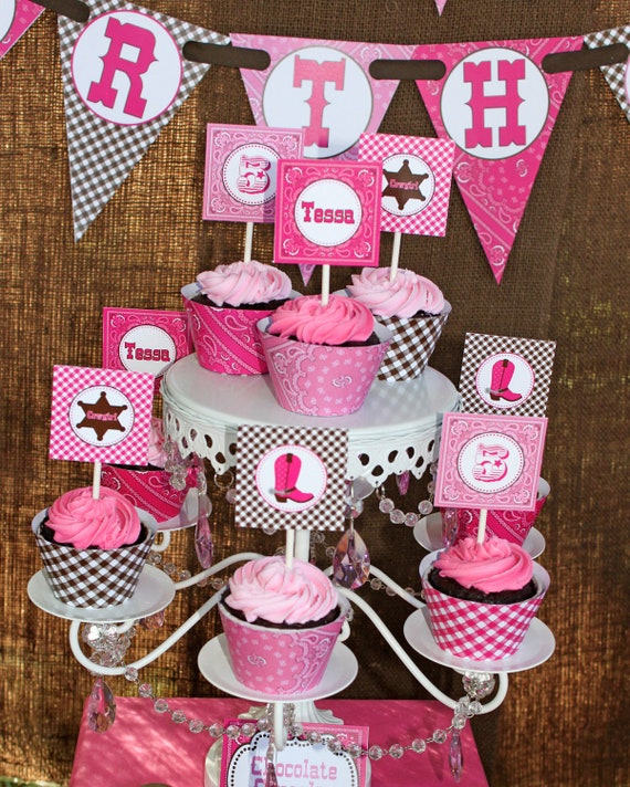 DIY Cowgirl  Printable Party Circles 2in Cupcake Toppers hot pink pink brown bandana gingham boots