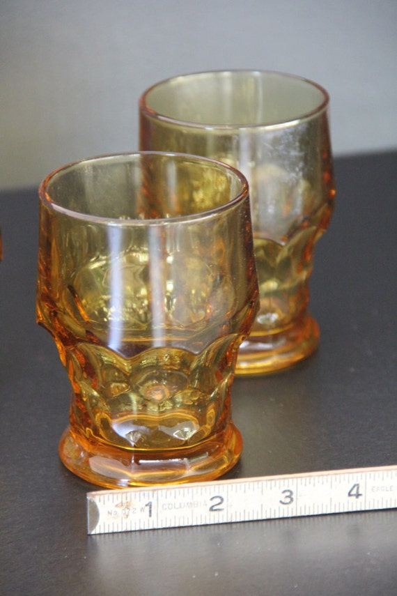 3 Vintage Amber Glasses 1960s Topaz ANCHOR HOCKING glass tumblers set Georgian Pattern Eames Era
