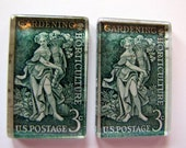 Vintage gardening postage stamp magnets - set of 2