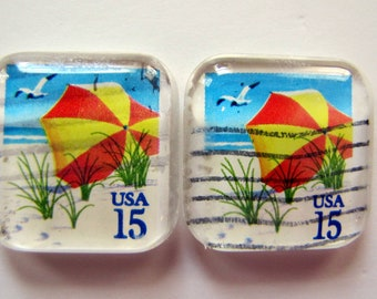 Beach Umbrellas postage stamp magnets - set of 4