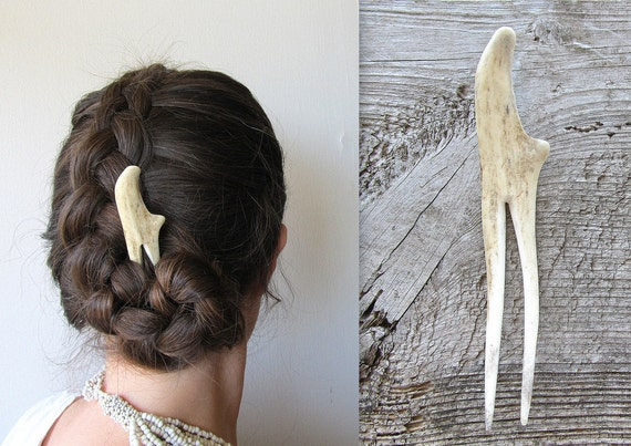 Deer Antler Tip Hair Fork Stick Unusual Statement Hair Piece Bohemian Tribal Accessory