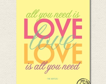 The Beatles All You Need Is Love 8x10 Art Print