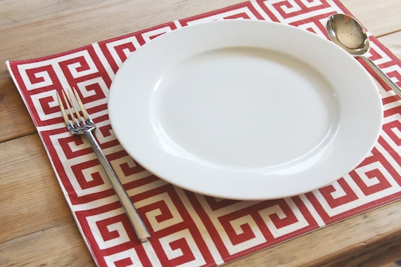Placemats - Red Grid - Set of 4