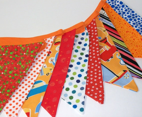 Party Banner, Bunting, Flags, Garland, Wall Dec in Orange, Blue, Green Child