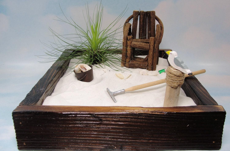 Miniature zen beach garden in rustic cedar box by scrapwoodstudio - Japanese sand garden mini ...