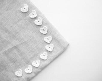 Crochet Heart Appliques, Snow White Bride, Set of 10, Wedding Decorations, Love Motif, Scrapbooking, Party Decorations, Bright White Bride