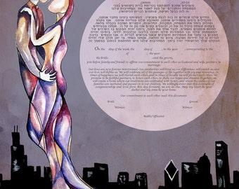 Chicago Skyline Ketubah, Jewish wedding, interfaith ketubah, watercolor ketubah, Chicago wedding, Jewish wedding, watercolor ketubah