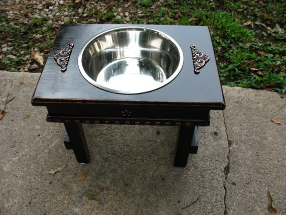 Single Bowl Feeder Large Dogs, Elevated,  Antique Black Cottage Chic  One 3 qt Bowl Raised Pet Feeder Made to Order